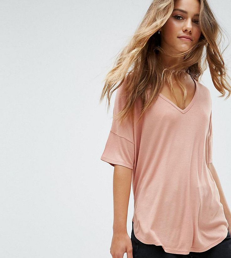 ASOS PETITE Slouchy Oversized T-Shirt in Rib - Pink
