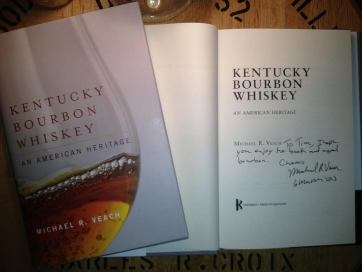 My collection of personalized bourbon history books is growing. Kentucky Bourbon Whiskey: An American Heritage by Michael R. Veach - Look for my book review next week in @AceWeekly