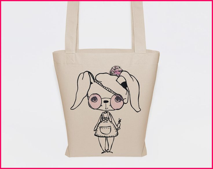 totebag, cheap tote bags, large canvas tote, big tote bag, beige tote bag, rabbit bag, funny tote bag, organic cotton bag, embroidered tote by RIUSZKA on Etsy