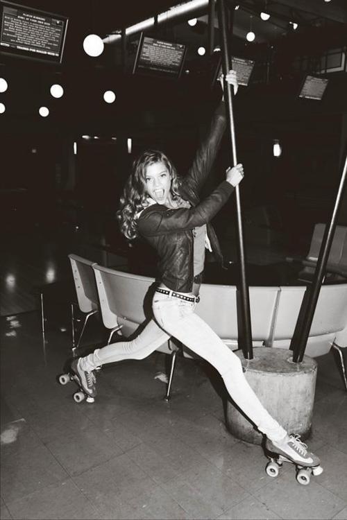 pole dancing on roller skates?  Ha!