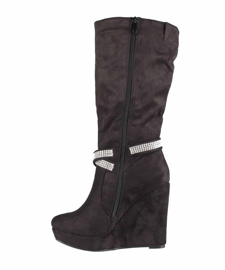 Stivale donna con strass e zeppa. http://www.scarpeonline.org #scarpe #stivale #moda #fashion