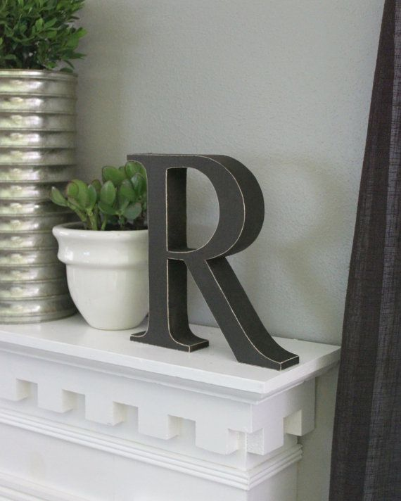 Free Standing Distressed Wooden Letters - Alphabet Decor Letter R