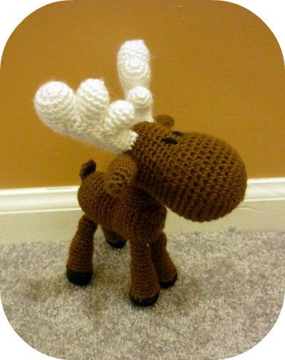 Free+Crochet+Amigurumi+Animals+Pattern | Handmade crochet moose stuffed animal, a style called amigurumi. Maybe ...