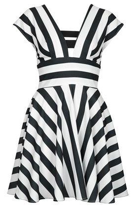 **Stripe Skater Dress by Love - Dresses  - topshop