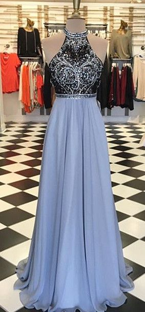 2017 prom dress, long prom dress, light blue prom dress, formal evening dress