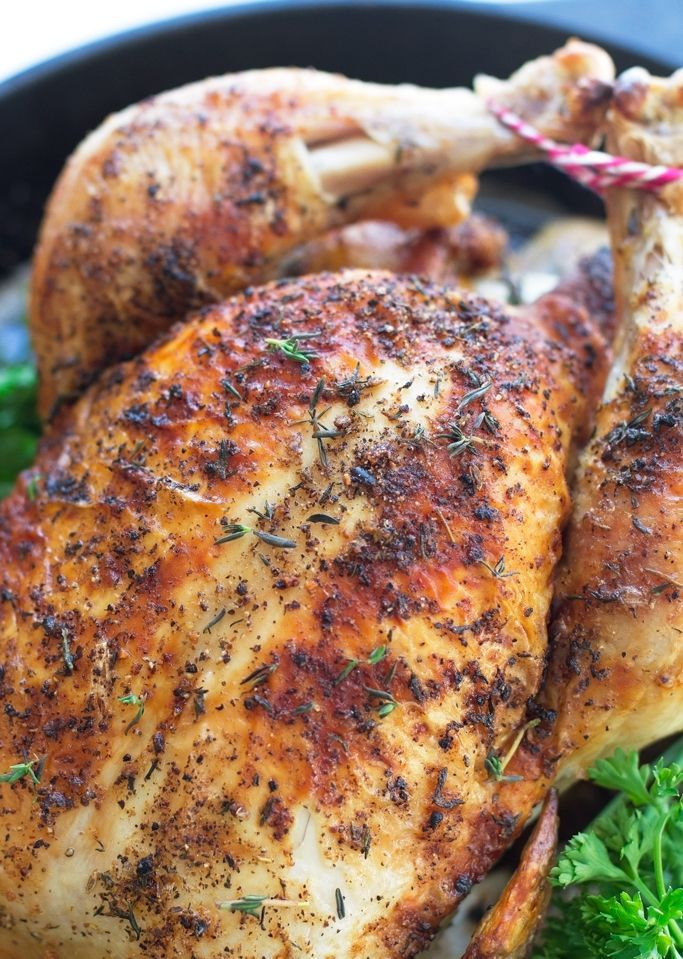 Perfect one hour whole roasted chicken recipe. Simple, easy, delicious, and juicy chicken recipe that requires no trussing! I made mine with herb butter.
