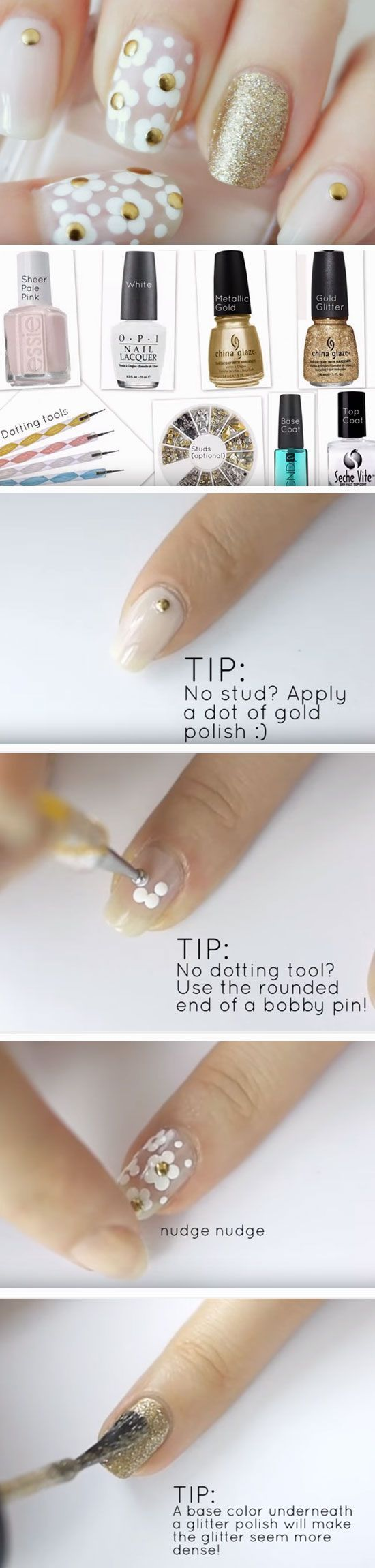 Marc Jacobs Daisy Inspired | Easy Spring Nail Designs for Short Nails 2016 #ManicureDIY