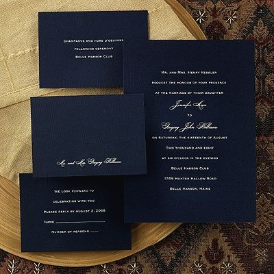 Unforgettable - Navy Wedding Invitation in different colors, however I love how…