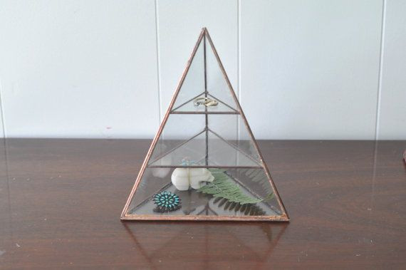 Lyra Pyramid Display Box - glass pyramid - jewelry box - hinged - silver or copper - eco friendly