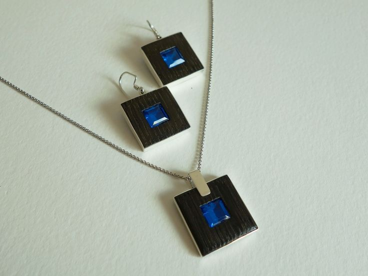 Bog wood and sterling silver earrings & pendant set with cubic zirconias Design&Handmade by K.Tokar