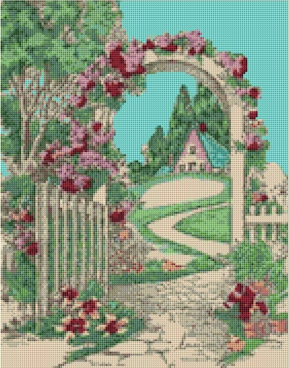 Garden Gate Cross Stitch Pattern, Instant Download Counted Cross Stitch Chart, PDF Digital Download
