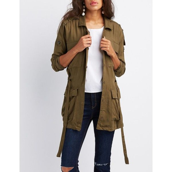 Charlotte Russe Lightweight Drawstring Anorak Jacket ($31) ❤ liked on Polyvore featuring outerwear, jackets, olive, green military jackets, lightweight anorak jacket, military anorak jacket, army green military jacket and olive green jackets