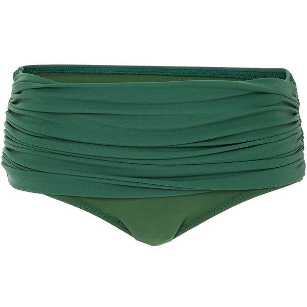 Norma Kamali Low Rise Bill Bikini Bottom (€150) ❤ liked on Polyvore featuring swimwear, bikinis, bikini bottoms, green, scrunch bikini bottoms, green swimwear, norma kamali, low rise swimwear and ruched bottom bikini