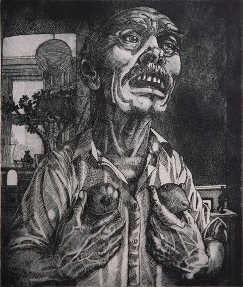 'Old man with two Kiwi Fruit'. Etching by Paul Bernard Harris