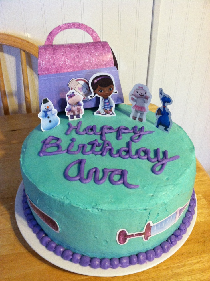 Doc McStuffins birthday cake- Angela these are print outs from the website. I have the bag and dr tools printed.