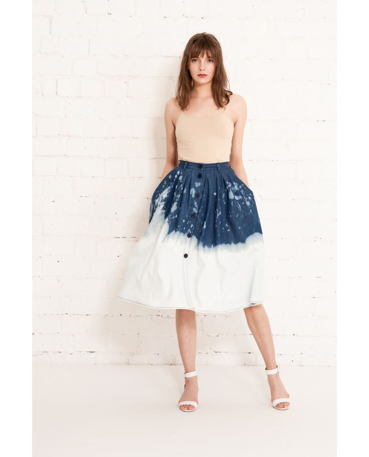 Bleached denim A line skirt with front navy buttons