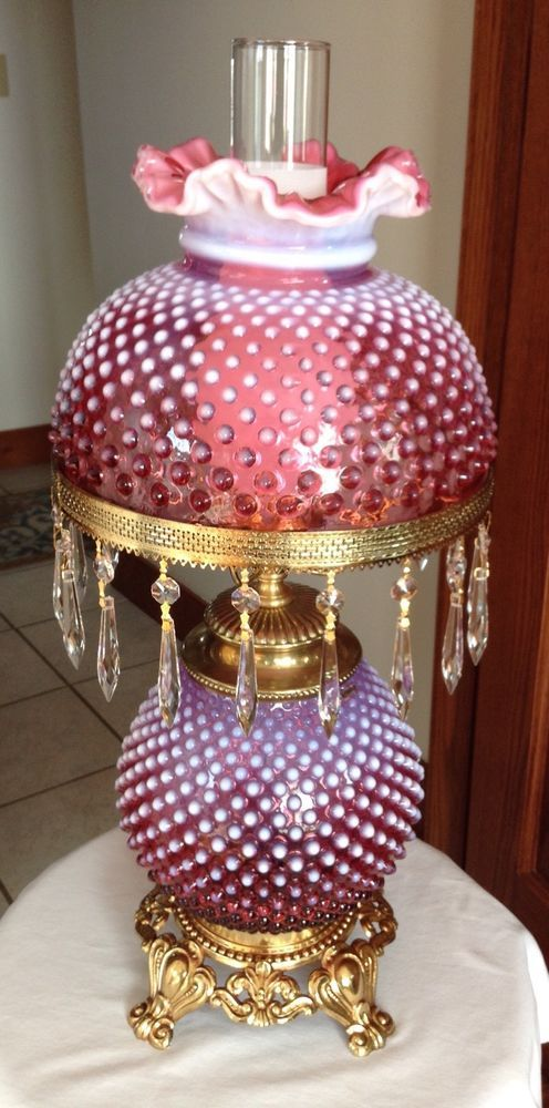 VINTAGE FENTON ART GLASS CRANBERRY OPALESCENT HOBNAIL LAMP WITH PRISMS FC3