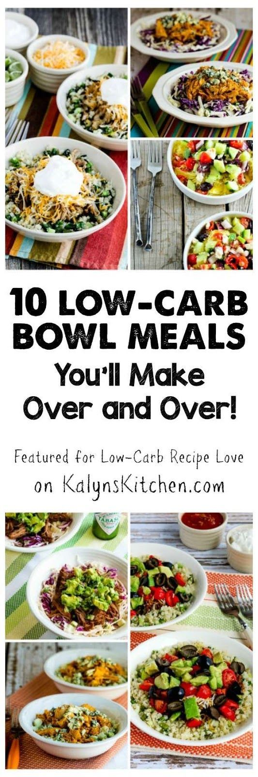 I love meals-in-a-bowl with a base of cabbage slaw, spaghetti squash, or cauliflower rice, and here are my favorite 10 Low-Carb Bowl Meals You'll Make Over and Over! [featured for Low-Carb Recipe Love on KalynsKitchen.com]
