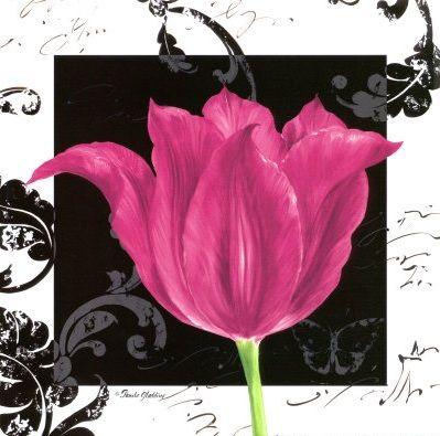 Flower art: Pink tulip with stylish black damask