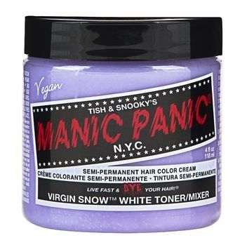"Manic Panic Virgin Snow, $9.99 from Sally Beauty | 41 Beauty Products That ""Really Work,"" According To Pinterest: Strike Shades, Dull Yellow, Panic Virgin, Peroxide Blondes, Hair Color, Virgin Snow, Snow White, Dyes Hair Blondes, Beautiful Products"