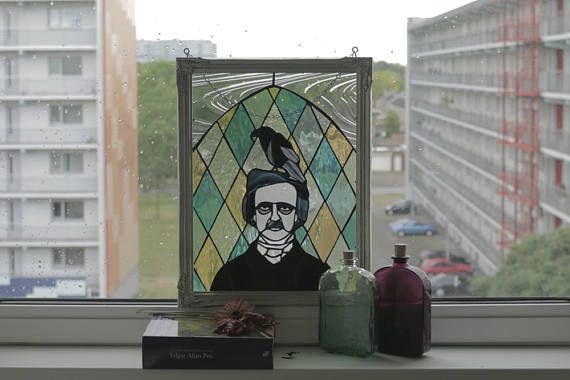Edgar Allan Poe stained glas Panel