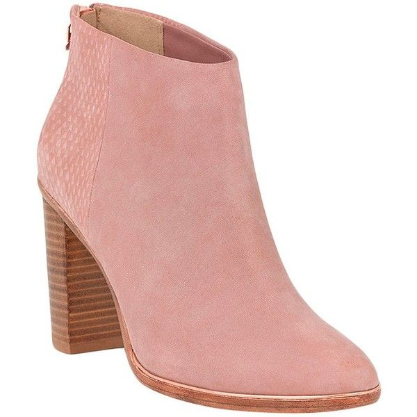 Ted Baker Lorcan Nubuck Ankle Boots ($255) ❤ liked on Polyvore featuring shoes, boots, ankle booties, pink, block heel booties, pink boots, back zip ankle boots, nubuck leather boots and nubuck boots