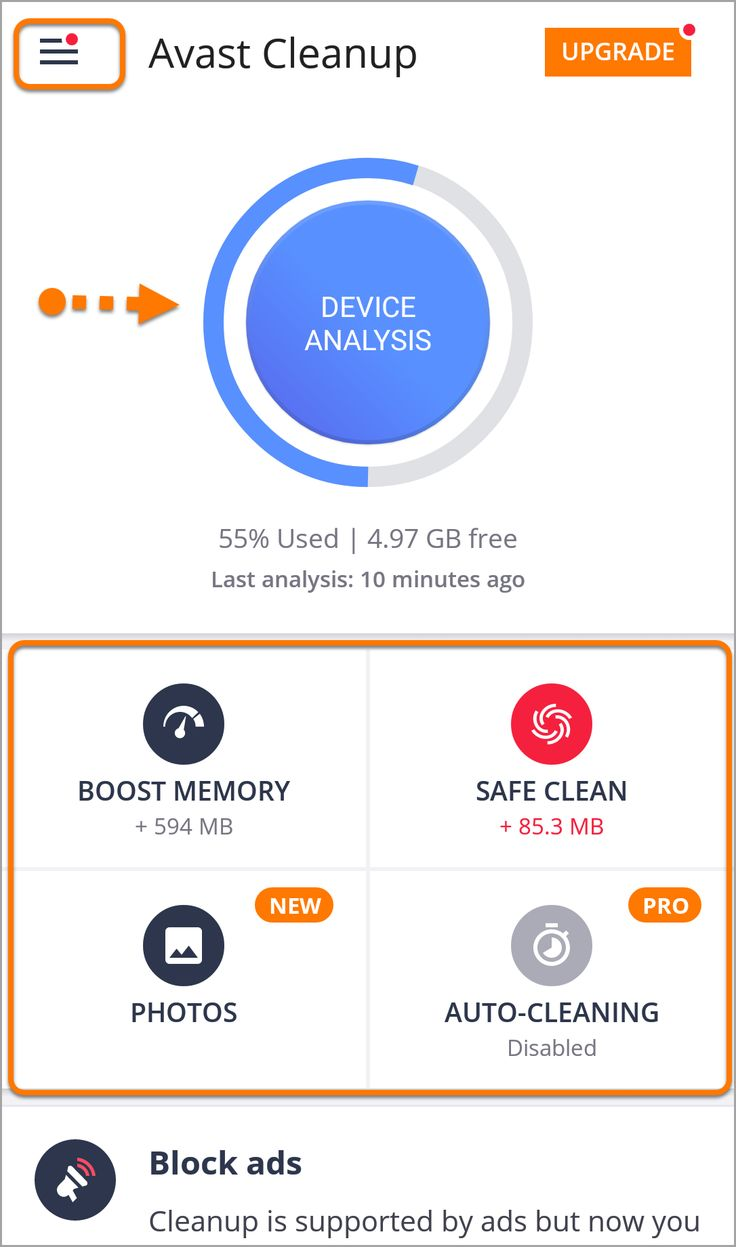 Avast Cleanup for Android Inteface