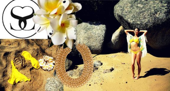 Get the look in a bright yellow Bandeau Bikini from www.scarlettswimwear.co.za