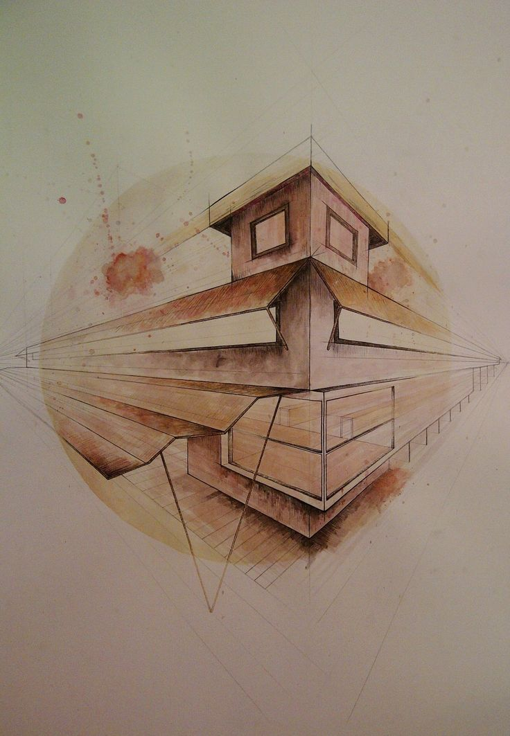 my own architectural drawing using gouache paint and a fine liner