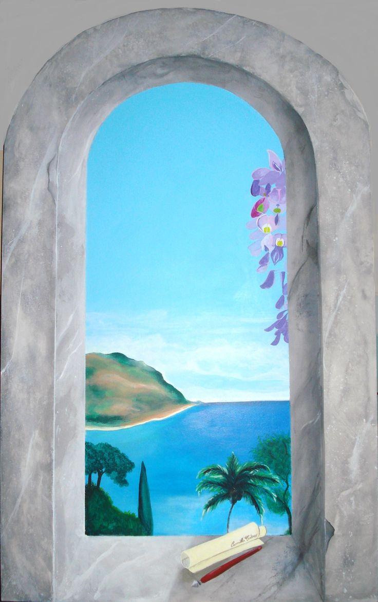 trompe l'oeil - paesaggio di mare, acrilico su tavola MDF, di misure 95,7x55 cm