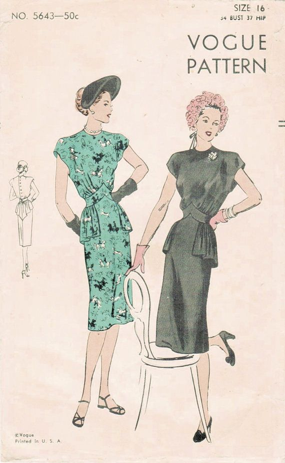 Vintage 1940s dress sewing pattern