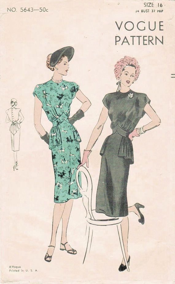 Vintage 1940s dress sewing pattern