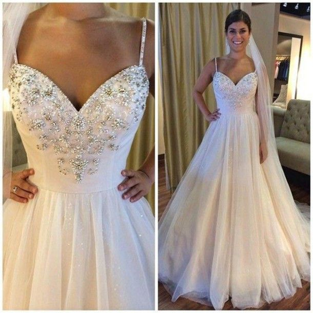 Ball Gown Wedding Dresses,Backless Spaghetti Straps Bridal Gowns