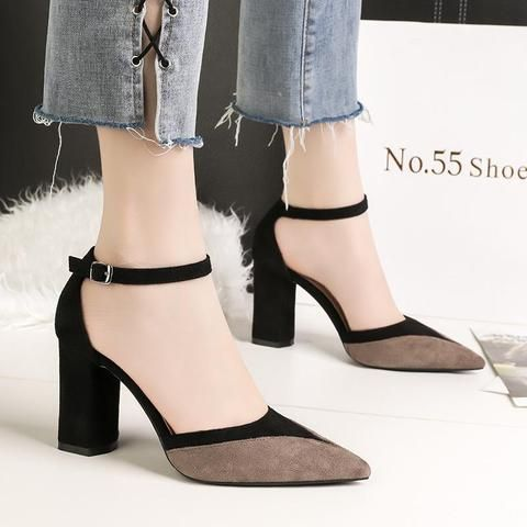 bb531ea3441d9 2018 Summer Elegant Fashion Woman Thick High Heels Female Suede Sandals  Mules Block Heels Lady Sexy khaki Party Pointed Toe Shoe-Touchy  Style-Black-6.5- ...
