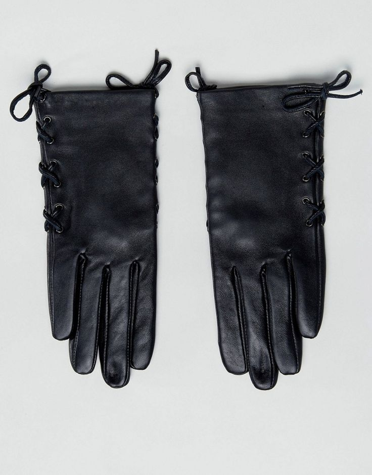 ASOS Leather Gloves with Side Tie Up an Touch Screen - Black