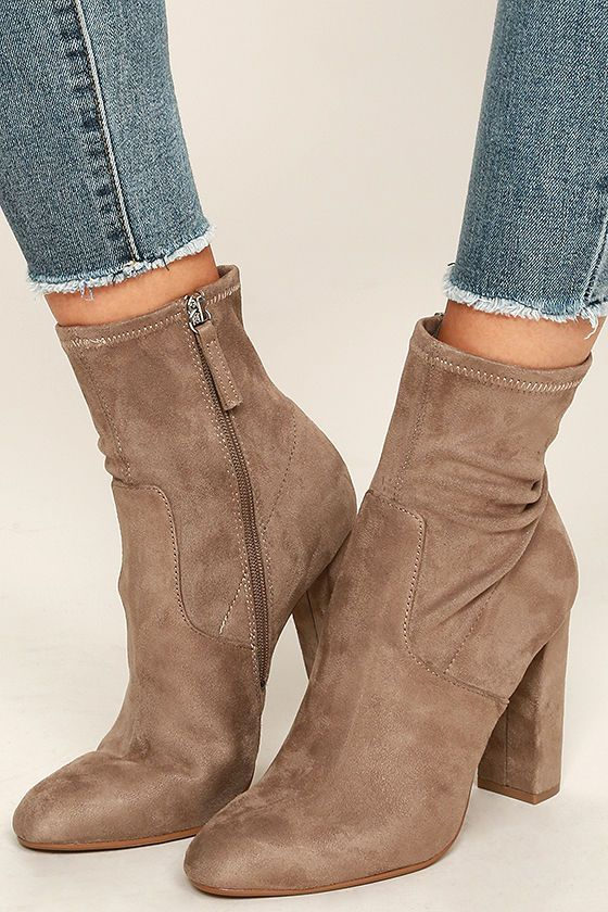 Give your ensemble an instant update with the Steve Madden Edit Taupe Suede High…