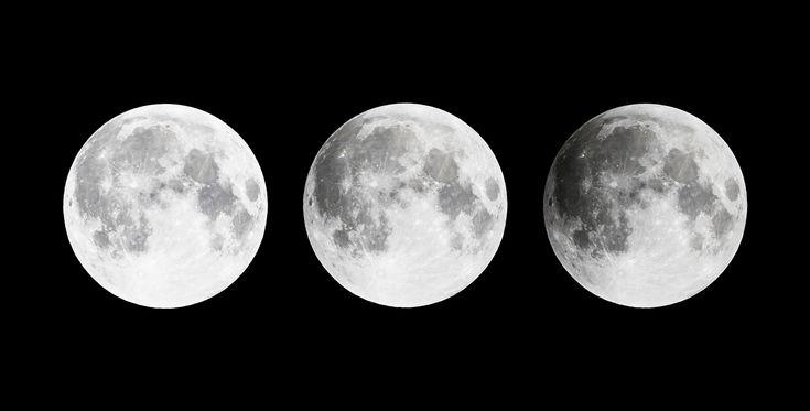 La nuit prochaine, la pleine lune plongera dans la pénombre qui enveloppe l'ombre de notre planète et la diminution de son éclat sera aisément observable à l'œil nu.    À gauche, une pleine lunetelle qu'elle apparaît dans le ciel noct
