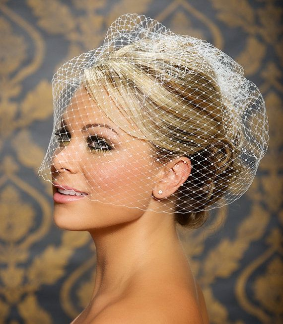 """Birdcage Veil, Bird Cage Veil, Blusher Veil, Large Full Bridal Veil in Russian Netting - 18"""" - Made to order in White, Ivory, and Black"""