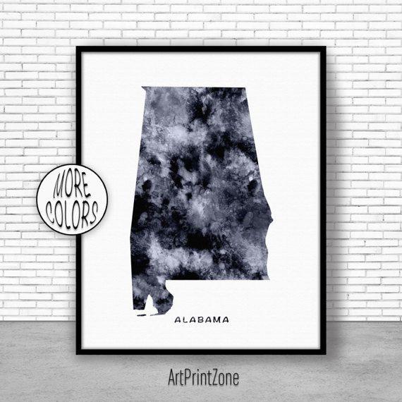Alabama Art Print Alabama Decor Alabama Print Alabama Map Art Print Map Artwork Map Print Map Poster Watercolor Map ArtPrintZone #AlabamaPrint #AlabamaDecor #WatercolorWallArt #AlabamaArtPrint #WatercolorMap