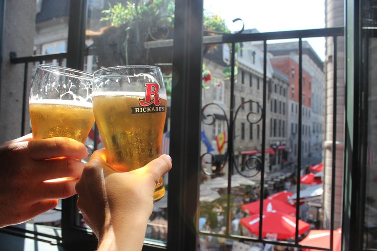 Cheers to beers looking out over the streets of Old Montreal.