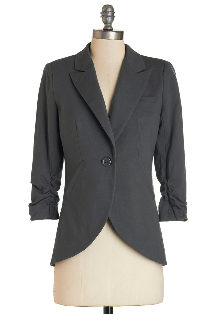 Fine and Sandy Blazer in Stone. Is that big project at work keeping you extra busy these days? #grey #modcloth