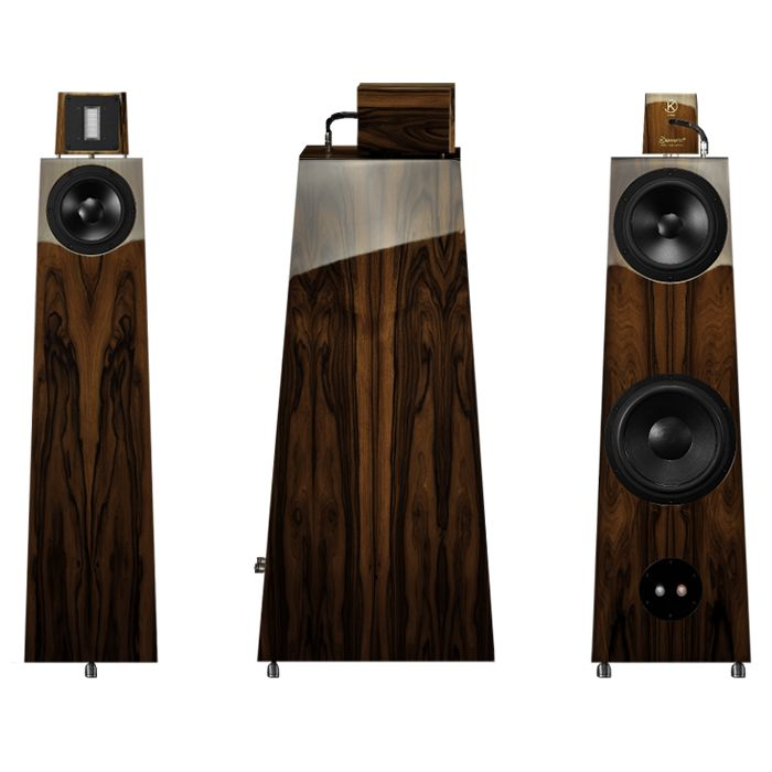 Kawero Classic Loudspeaker.  Custom-tailored to your needs. Select from a great variety of veneers or colours. Acoustic fine-tuning is individual and there are three custom woofers to choose from, so depending on the reverberation time of your listening room we will select a matching woofer, tune the port frequencies and the midrange passive radiator to optimise the sound. You can also consider the external crossover option which brings further significant improvements.