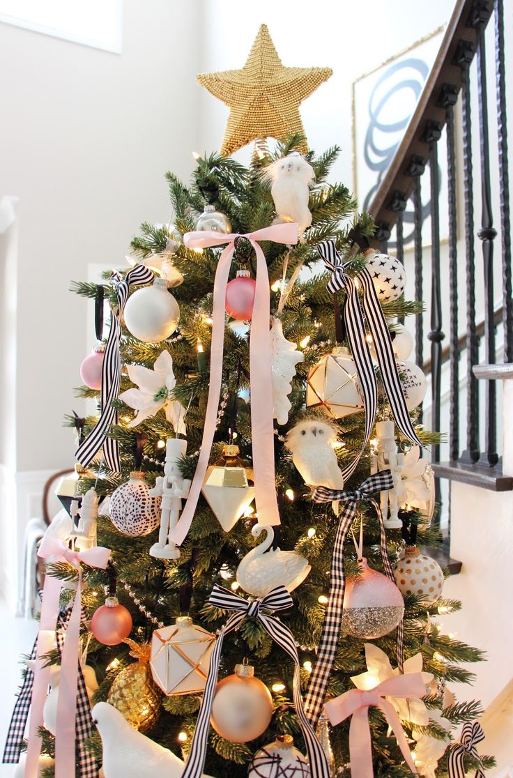 Maroon Christmas Ornaments Part - 37: ... And Elegant Christmas Decor, Christmas Tree In The Foyer, Black And  White Christmas Tree, DIY Christmas Ornaments, Stylish Holiday Mantle, Pink  Maroon ...