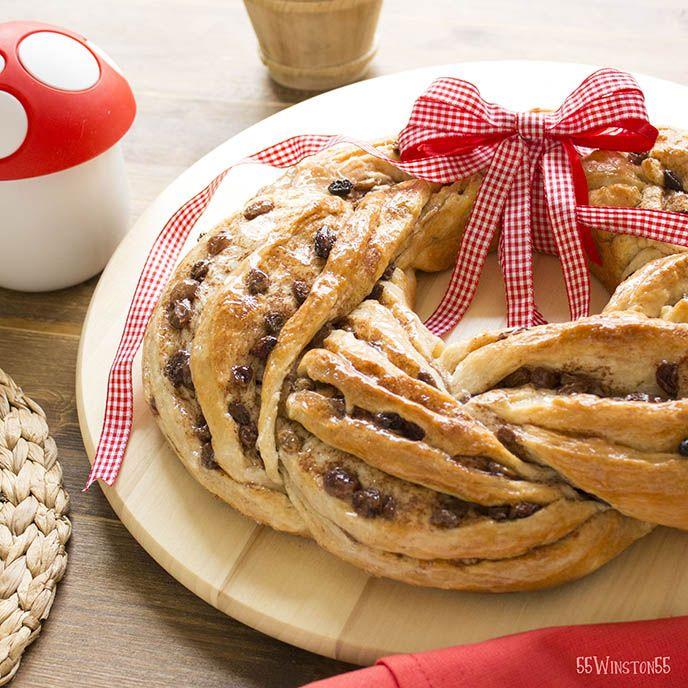 Ecco la ghirlanda di pan brioche servita in tavola! Servitela tiepida o a temperatura ambiente.