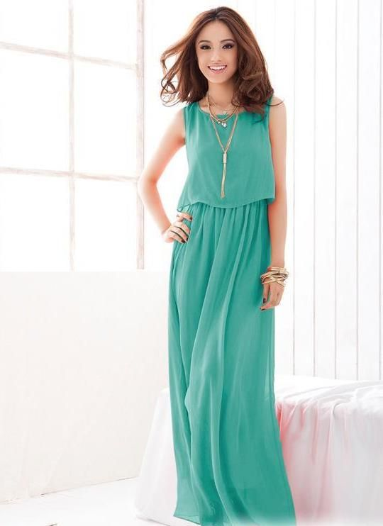 c91bb84b4df Длинное шифоновое платье оттенка зеленого цвета