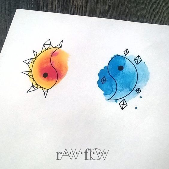 Yin to My Watercolor Yang - Super Cute Matching Tattoo Ideas For You and Your Best Friend - Photos