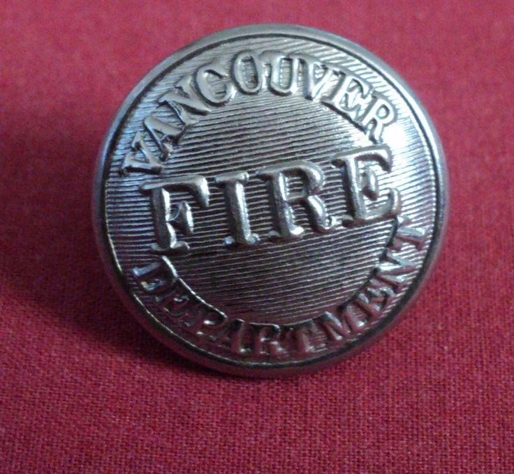 Vintage Vancouver Fire Department Canada Miliary Button