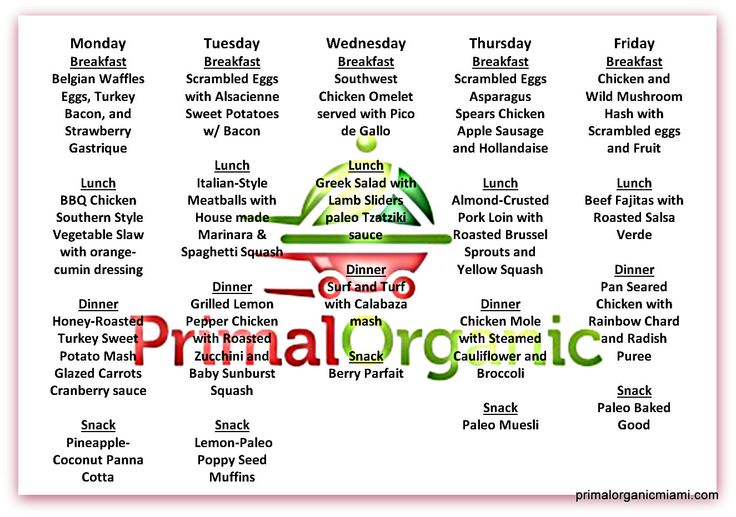 5 day paleo meal plan #paleo #primalorganic healthy #diet #delivery #miami  #crossfit  www.primalorganicmiami.com  Monday September 15th Breakfast Belgian Waffles Eggs, Turkey Bacon, and Strawberry Gastrique Lunch BBQ Chicken Southern Style Vegetable Slaw with orange-cumin dressing Dinner Honey-Roasted Turkey Sweet Potato Mash Glazed Carrots Cranberry sauce Snack Pineapple-Coconut Panna Cotta