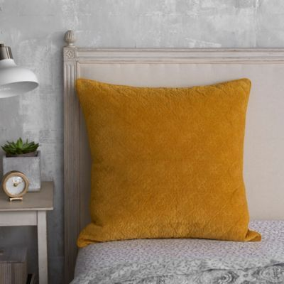 Add sophistication to your bedroom setting with the Seville Tiled European Pillow Sham. Inspired by vintage tiles in Spain, the grey and ivory print reverses to a beautiful mustard foulard to complete your top of bed decor.