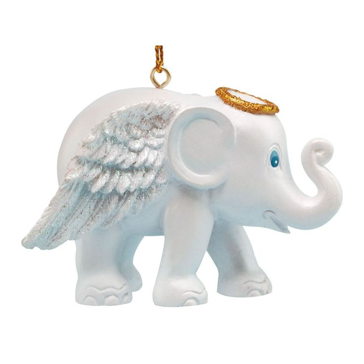 Christmas elephant for hanging, White Angel